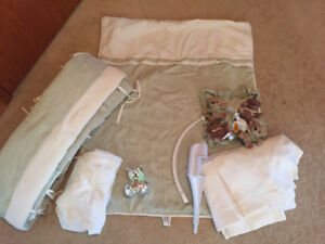 Full Crib Bedding Set and Accessories in perfect condition