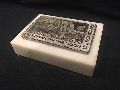 """""""First Man on Moon"""" Airmail 10c Postage Stamp Marble & Pewter Paperweight"""