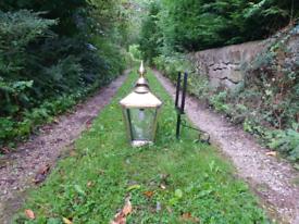 Large brass Victorian style wall lamp/light/lantern house outside