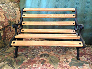 Wooden & Wrought Iron Doll Bench - EXCELLENT CONDITION!