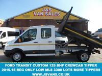 2015 15 FORD TRANSIT 350 LWB 2.2 350 L3 DCB C/C DRW 1D 125 BHP CREWCAB TIPPER 20