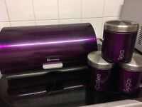 Bread bin & sugar, tea, coffee pots
