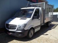 £ 74 A WEEK - 2014 MERCEDES SPRINTER 313 ALLOY CAGED TIPPER TRUCK WITH TOOLBOX
