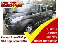 2015 FORD TOURNEO CUSTOM 300 L2 LWB TITANIUM 9 Seats LEATHER SAT NAV