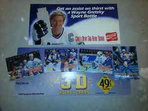 Gretzky Coke water bottle cardboard ad and McDonalds Card ad