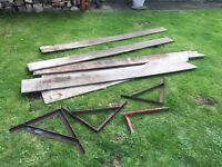 Planks and shelf brackets