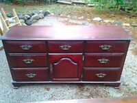 Pine and mahogany dressers and armoir.
