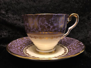 Royal Stafford Purple Gold Rose Chintz Tea cup & Saucer - Mint!