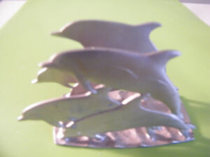 AMOS PEWTER JUMPING DOLPHIN SERVIETTE HOLDER _ REDUCED PRICE !!