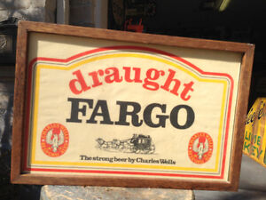 VINTAGE FARGO DRAUGHT BEER SIGN FRAMED - PARKER PICKERS -
