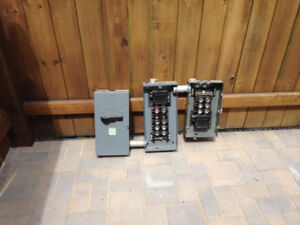 used electrical panel/ disconnect and other supplies....