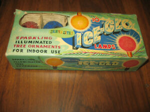 Vintage Ice-Glo Christmas Lamps with Box Santa Lights