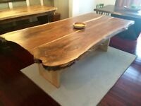 Rustic live edge and barnboard harvest, trestle tables doors