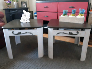 2 distressed end tables