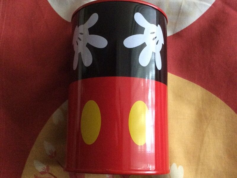 Disney Red and Black Mickey Mouse Tin Coin Box Piggy Bank