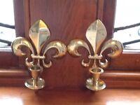 Brass Plated Sconces - Fleur de Lys