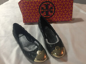 Tory Burch Kaitlyn Gold Cap Quilted Leather Ballet Flats Size 6