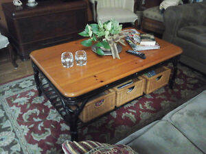 3 pcs coffee & end tables wrought iron & solid wood