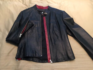 Women black genuine leather jacket - size 8-10