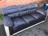 Leather Sofa - Brown and Cream
