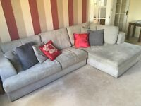 Next Stratus large chaise sofa in velvet mid silver