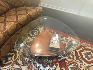Triangular Glass & Wood Coffee Table and Two End Tables