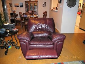 Leather burgundy couch & recliner