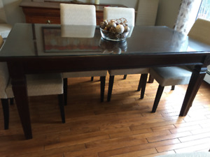 Georgeous mahogany table including custom glass top