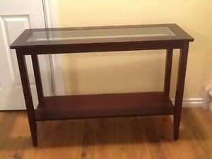 Sofa table glass insert 30 in. tall, 43 by 16 in. dark brown
