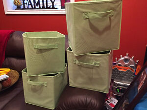 Four Lime Green Storage Bins