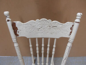 ANTIQUE PRESS BACK ROCKING CHAIR  - needs refinishing!
