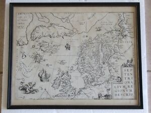 ANTIQUE FRAMED ARCTIC AND SCANDINAVIA MAP London Ontario image 1
