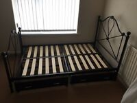 Black small double bed great condition