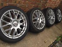 """As new 18"""" Audi A4 A5 A6 alloy wheels + Avon 245/40/18 tyres Mercedes C E S class VW Passat"""