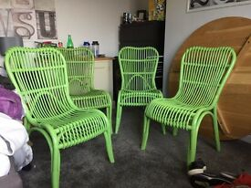Green wicker conservatory/garden room chairs