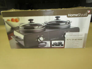 ELECTRIC DOUBLE 5 Quart SLOW COOKER BY HOMESTYLE NEVER USED....