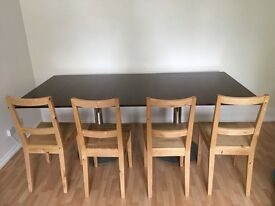 Large Solid Mahogany Dining Table with Metal Legs £500