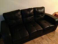 Dark Brown Leather Couch and Chair Set