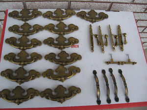 Vintage Dresser Hardware KNOBS AND HANDLES NICE !!!!!