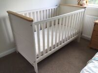 Cot bed, changing station and wardrobe