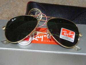 Green Lens Gold Frame Ray-Ban Aviator RB3025 RayBan Sunglasses Regina Regina Area image 7