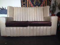 1940/50s cream shell leather sofa Art Deco CAN DELIVER