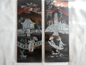 PAIR Vintage Oriental Lacquer Mother of Pearl Wall Panels Art