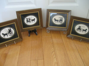 CLUSTER of FOUR BEAUTIFULLY FRAMED WALL-HANGING SILHOUETTES