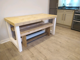 New, hand crafted dining table and benches. Shabby Chic, rustic