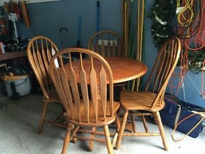 Solid Wood Table and Four Oak Chair Set $200!!