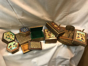 Vintage Khatam Kari Marquetry Boxes-Middle Eastern Art