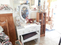 White Wicker Desk or Vanity with Bench at KeepSakes Antiques