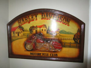 HARLEY DAVIDSON MOTORCYCLE CLUB WOODEN WALL ART PICTURE