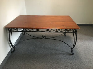 NEW Large Wood and wrought iron table